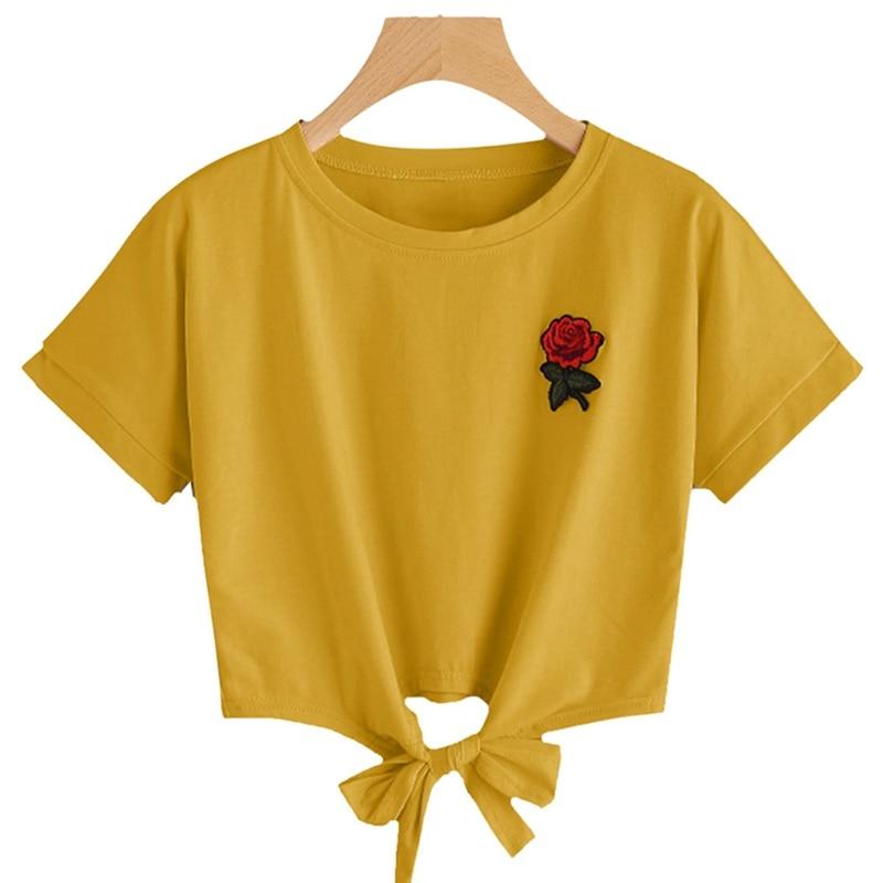 Fashion Summer Kawaii Embroidery Rose Print T Shirts Women Short Sleeve Tops Tees Casual Female T-shirt Футболка