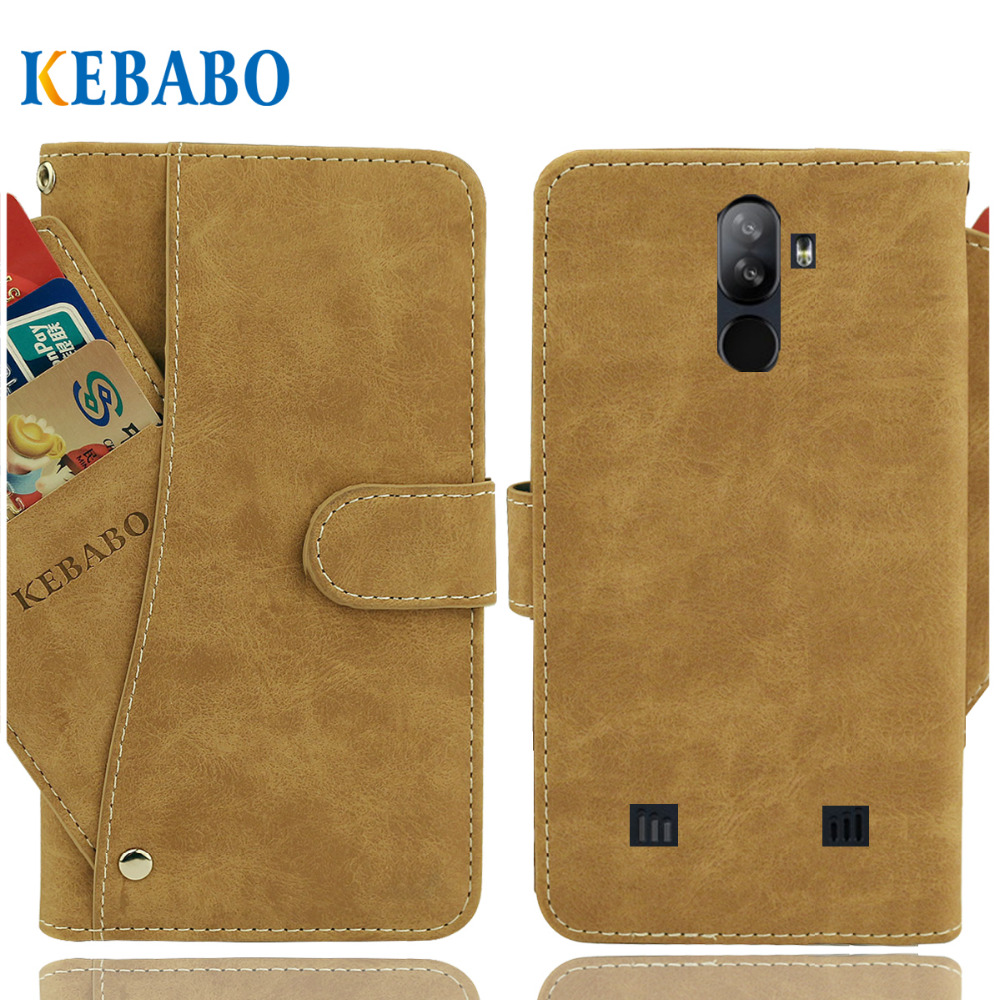 "Vintage Leather Wallet Doogee S40 Case 5.5"" Flip Luxury 3 Front Card Slots Cover Magnet Stand Phone Protective Bags(China)"