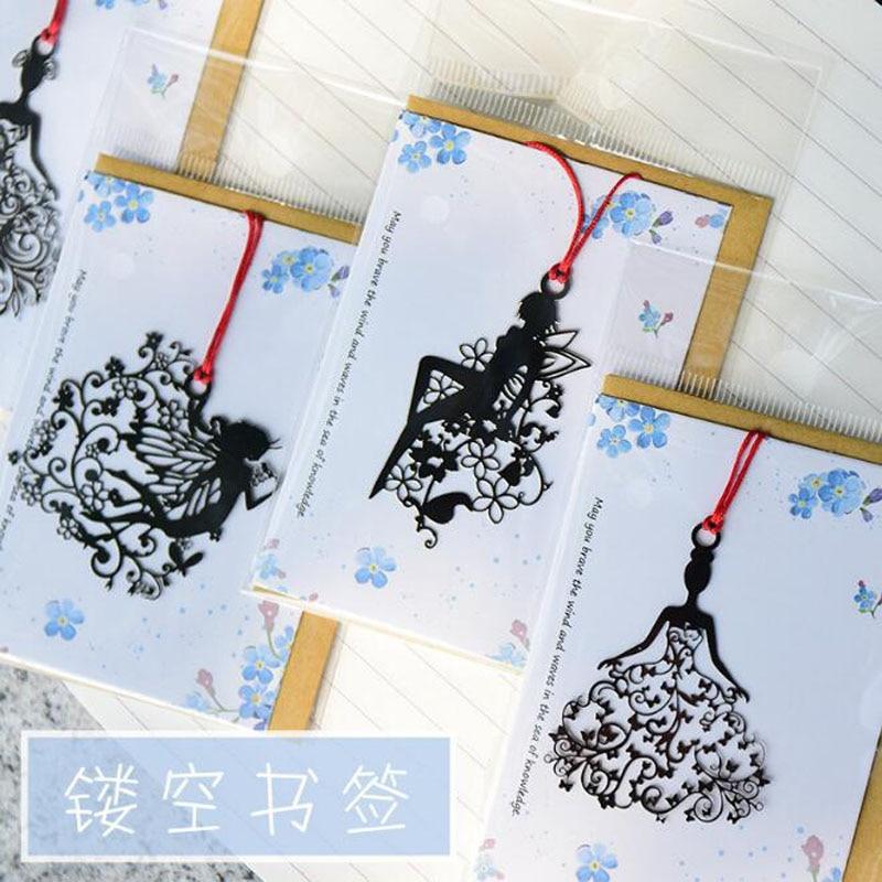 1pc Cute Openwork Elf Bookmarks Book Metal Girl Shapes Bookmarks