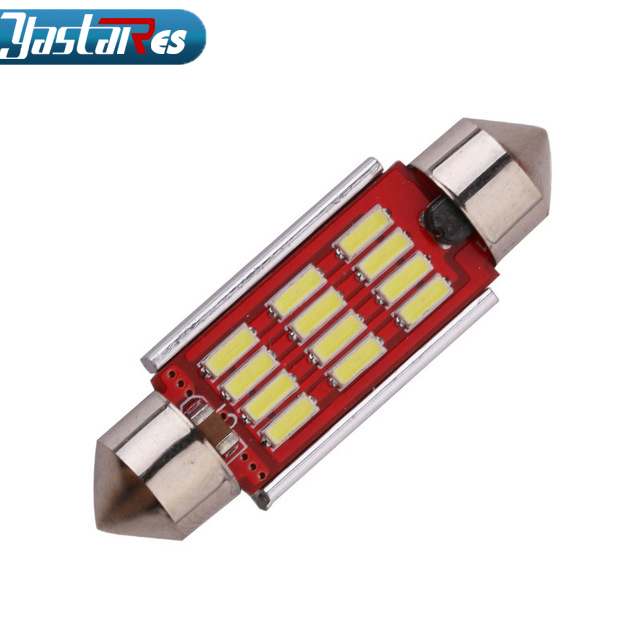 1pcs High Quality 31mm 36mm 39mm 42mm C5W C10W Super Bright <font><b>12</b></font> <font><b>SMD</b></font> 4014 LED Car Festoon Lamp Auto Dome Light Interior Bulb White image