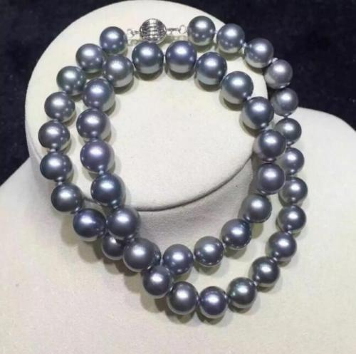 elegant10 11mm AAA+ real natural south sea round silver grey pearl necklace 18in>>> women jewerly Free shipping