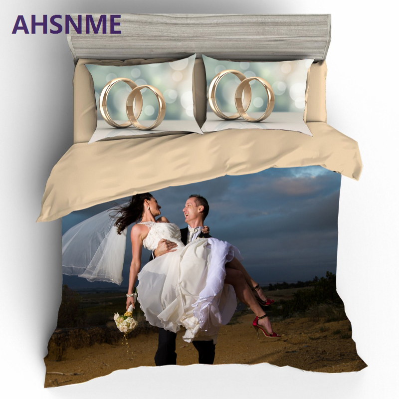 AHSNME Customize 3D Printed Bedding Kit Custom Quilt Cover Pillowcase Bed Set Romantic for Wedding GiftAHSNME Customize 3D Printed Bedding Kit Custom Quilt Cover Pillowcase Bed Set Romantic for Wedding Gift