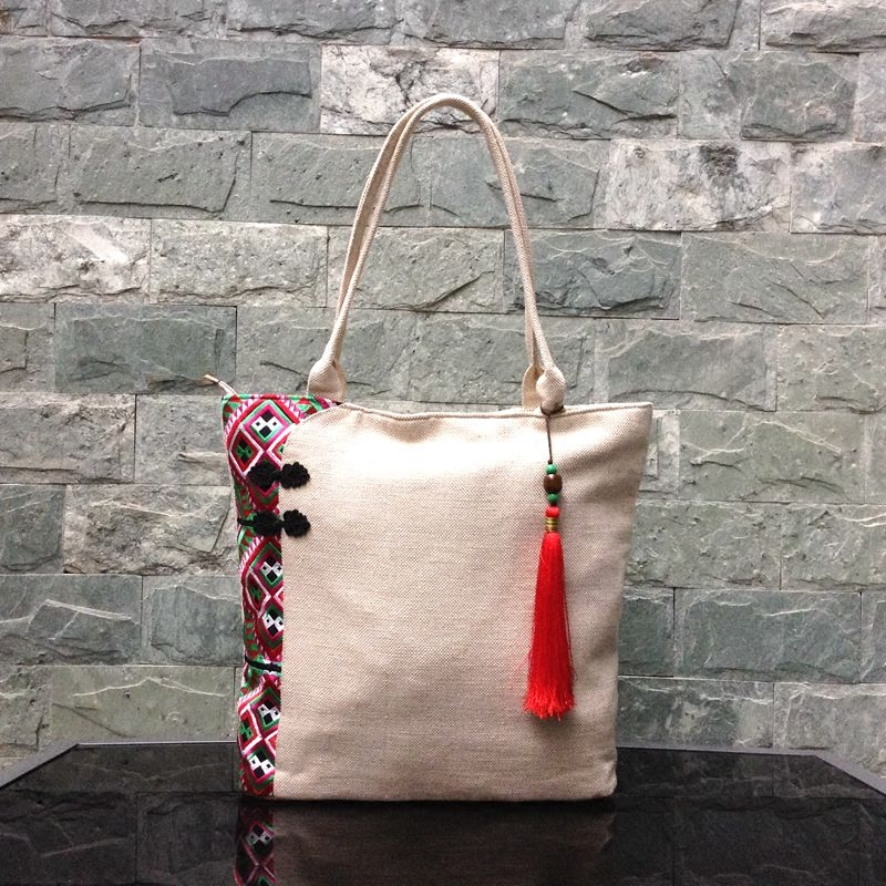 Linen Top Handle Bag Chinese National Style Handbag Women Handmade Tassal Embroidery Flower Lady Casual Totes Big Shoulder Bag 2016 summer national ethnic style embroidery bohemia design tassel beads lady s handbag meessenger bohemian shoulder bag
