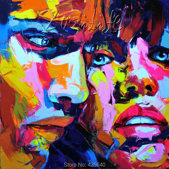Palette knife painting portrait Palette knife Face Oil painting Impasto figure on canvas Hand painted Francoise Nielly 13-38