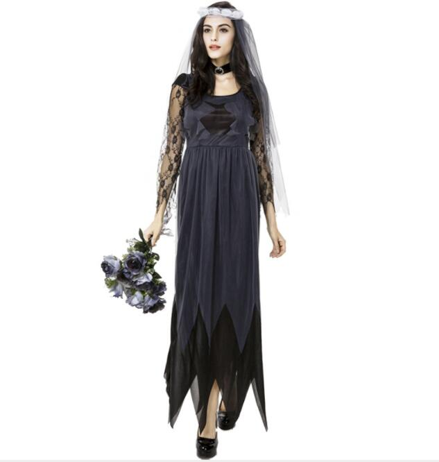 sexy lace vagabonds Witch Costumes sexy Halloween witch long Ghost bride suit suit queen costume long sleeve long dresses A051