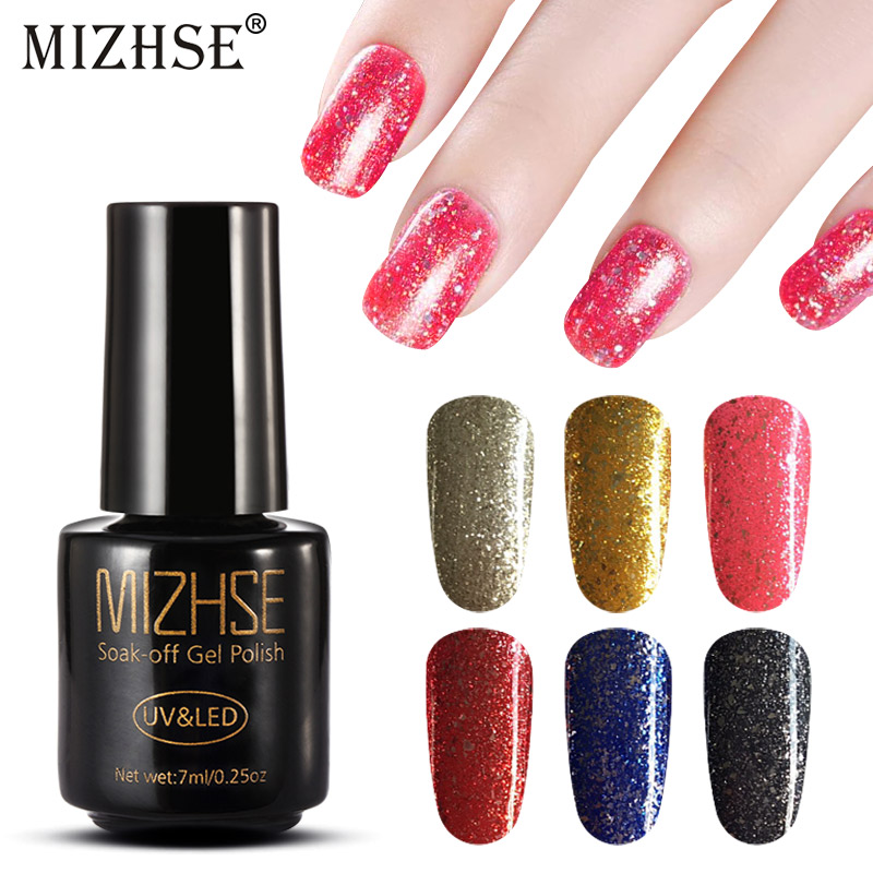 MIZHSE 2019 Diamond Shiny Sequin Glitter UV Gel Varnish Shine Shimmer Top Base Gel Lacquer Primer Manicure Gel Nail Polish