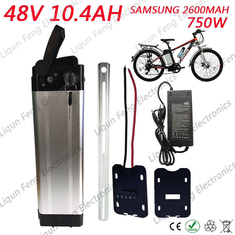 48V 10AH Silver Fish E bike Lithium ion Battery 48V 10AH