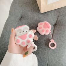 Bluetooth Earphone Case for Airpods Cute Accessories Protective Cover Anti lost Strap for airpods 2 Silicone 3D design Cat paw