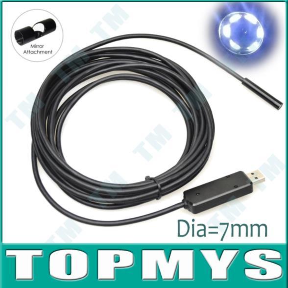 USB Mini Camera Dia=7mm 5M Endoscope Microscope 6LED Low Light Waterproof IP67