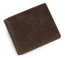 JMD Excellent Natual Real Cow Leather Bifold Men Brown Short Wallet Card Holder 8077R