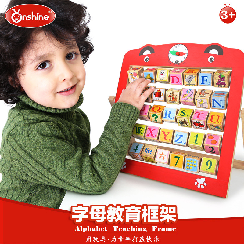 Onshine Baby Toys ONSHINE Double Faced Educational Toys Child Alphabet Teaching Frame Christmas Wooden Blocks Gift