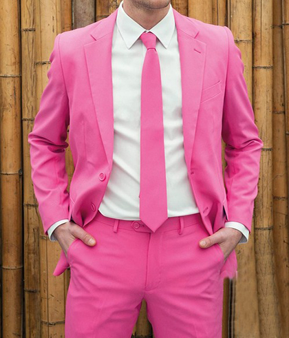 Latest Fashion Color Men Suit Slim Dinner Party Prom Peach Pink Suits Groom Tuxedos Wedding Blazer 2 Pieces 2018 (Jacket+Pants)