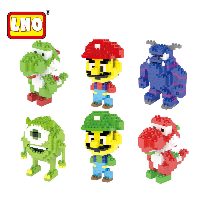 LNO nano blocks hot super mario yoshi action figures plastic building cartoon diy model bricks funny educational toys for kids.