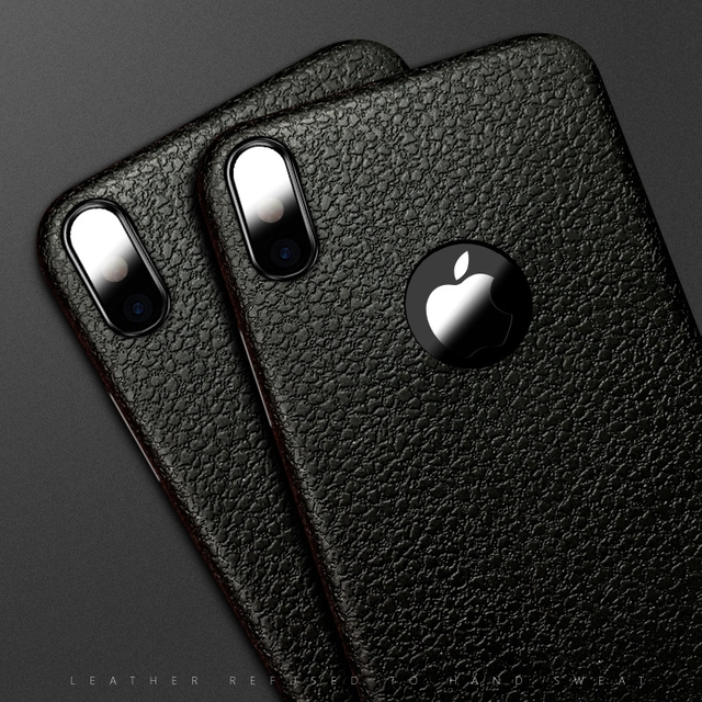 hot sale online 47d96 27588 US $1.79 10% OFF|Retro Case for iphone X Silicon Ultra Thin TPU Soft  Leather Skin Phone Case for Apple iphoneX iphone X Logo Hole Back Cover -in  ...