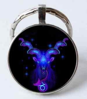 Luminous Zodiac Sign พวงกุญแจ 12 Constellation Leo ราศีตุลย์ราศีพิจิกราศีธนูจี้คู่ Keyring Key ผู้ถือวันเกิด