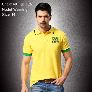 2015 Summer Men Polo Shirt Flag Style Black Yellow White Plus Size embroidery Breathable Cotton Polo Shirts E5036