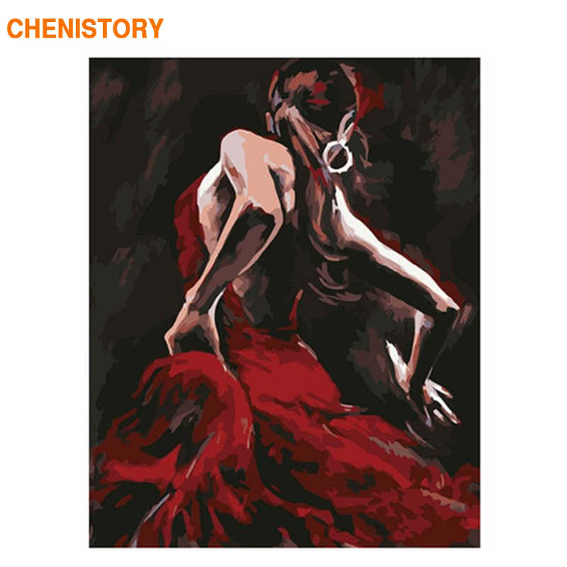 CHENISTORY Frame Dancer DIY Painting By Numbers Kit Wall Art Canvas Painting Figure Picture Hand Painted Oil Painting For Home