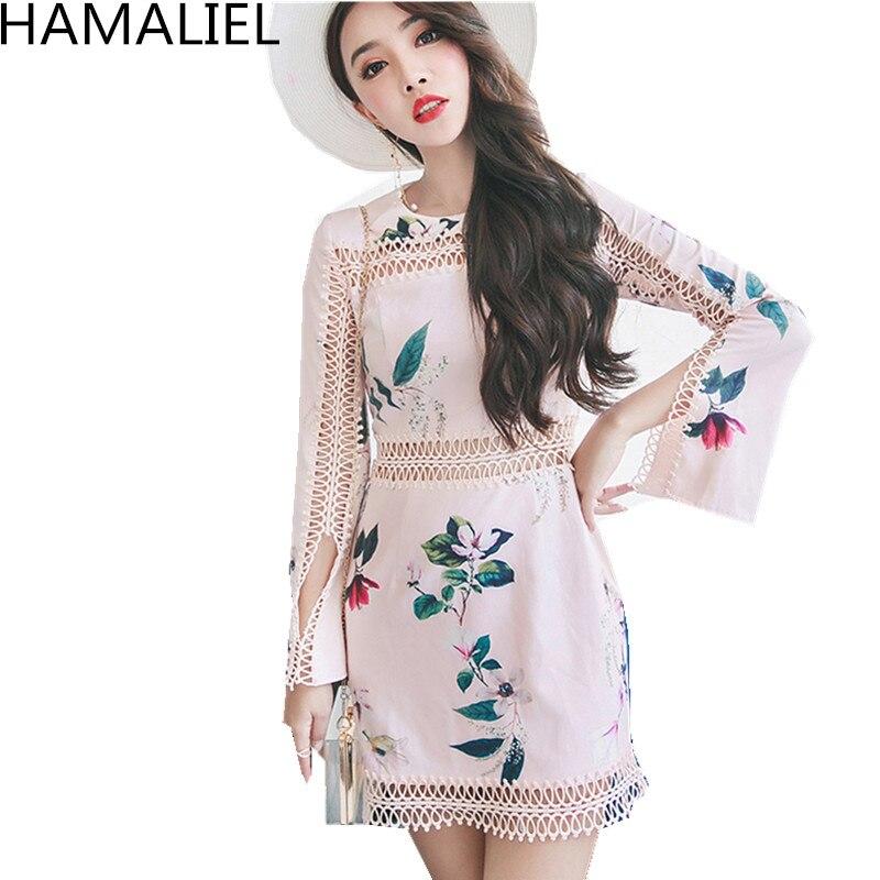 HAMALIEL Runway Designer Autumn Women Dress 2018 Fashion Pink Prin Patchwork Long Sleeve Hollow Out Bodycon Slim Party Dress