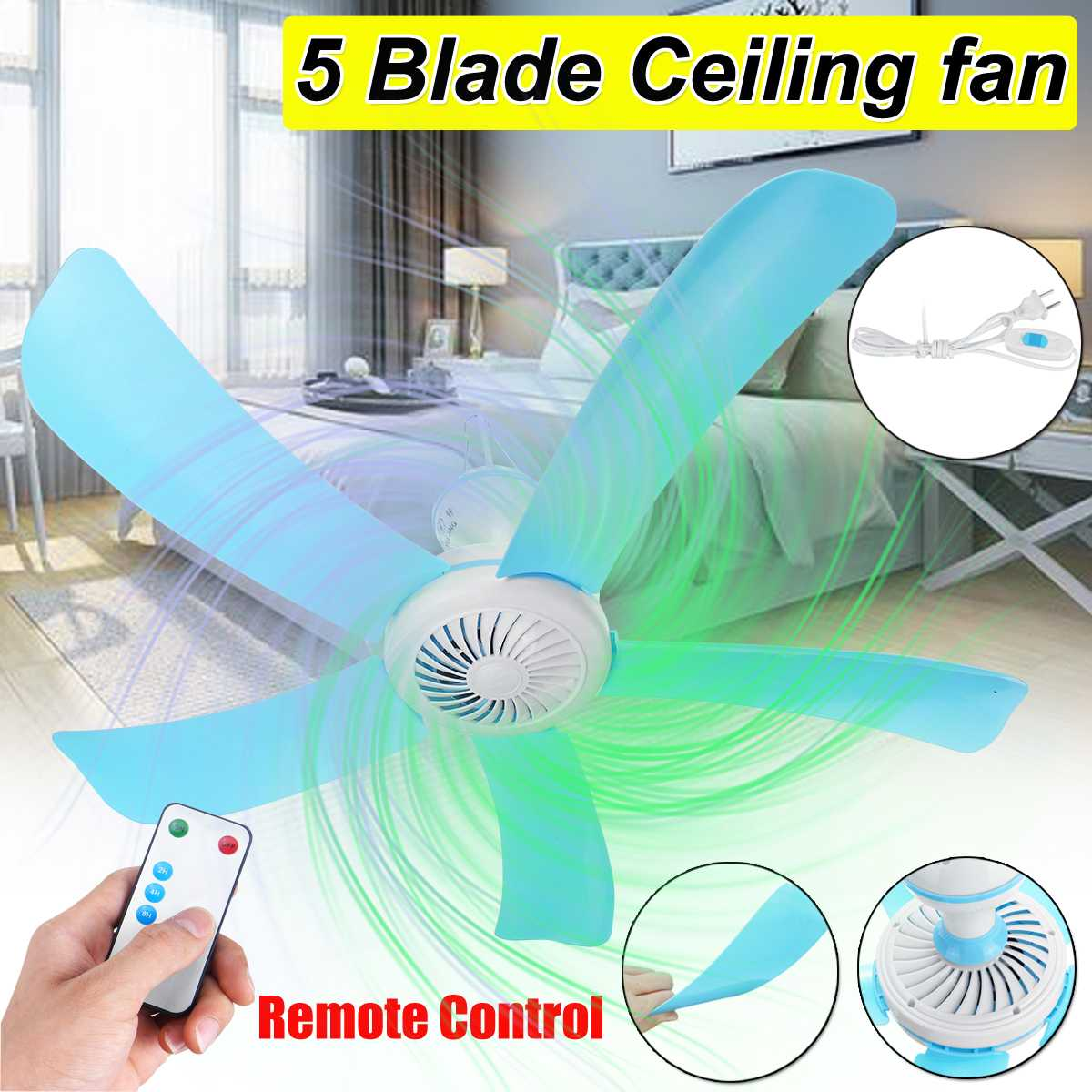 Energy Saving Ceiling Fan Mini Fan Anti-mosquito Hanging Fan Air Conditioner Cooler with RC 3meter cord for Summer 5 Blades