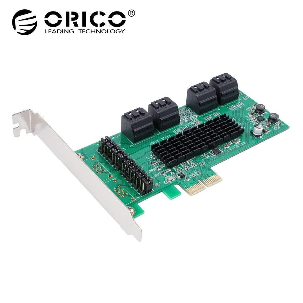 ORICO 8 Port SATA3.0 PCI-E Express Expansion Card Adapter 6Gbps PCI Express Marvell9215&Marvell 88SM970 Control Chip For Windows orico pvu3 5o2i usb3 0 5 port pci e expansion card with dual chip high speed 5gbps black pcba with 20 pin slot