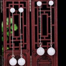 Real 925 Sterling Silver Drop Earrings Drop Shipping Ear Pin Natural Round Jade Handmade Earrings For Women Wedding Jewelry недорого