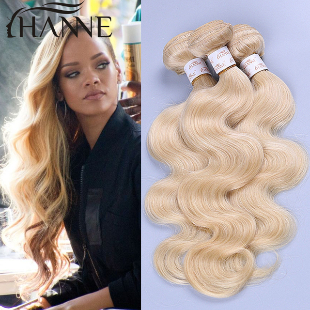 Colored 613 Brazilian Human Hair 3 Bundles Honey Blonde