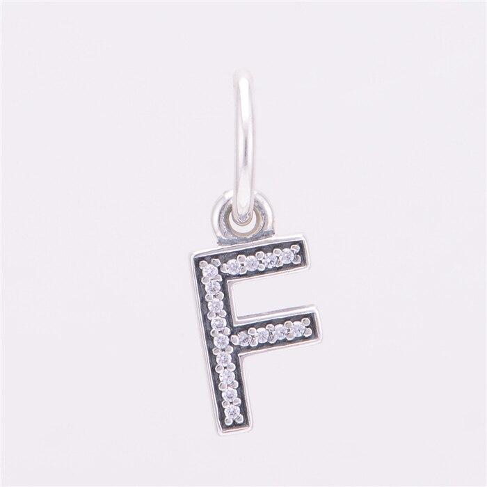 ②Аутентичные стерлингового серебра 925 Буква F DIY мотаться из ... 11808a607b2