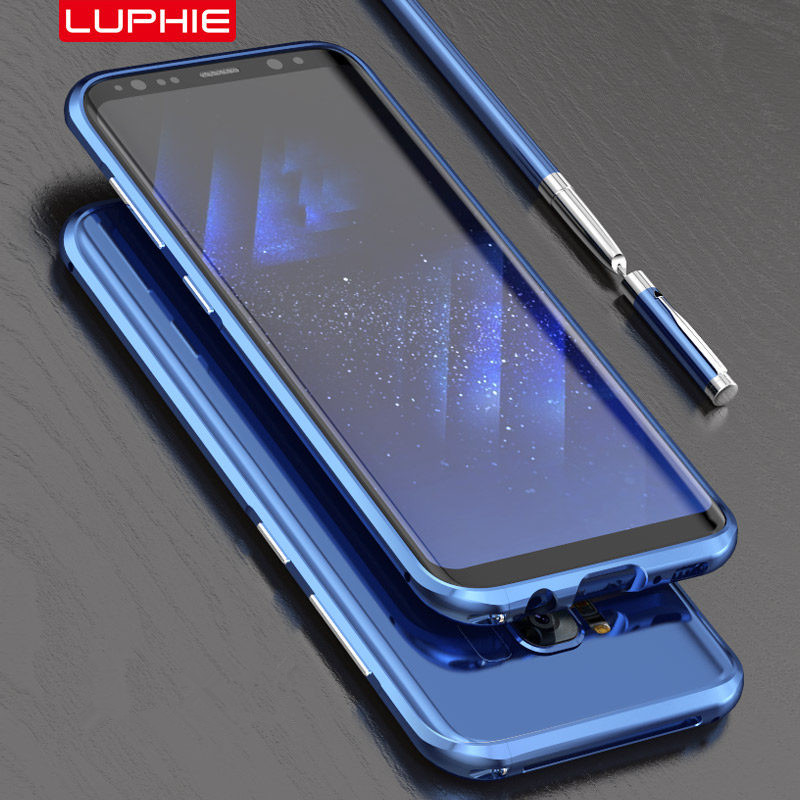 Luphie Curved Metal Bumper For Samsung Galaxy S8 S9 Plus Shockproof Case Ultra Thin Aluminum Bumper Frame For Samsung S9 Cover