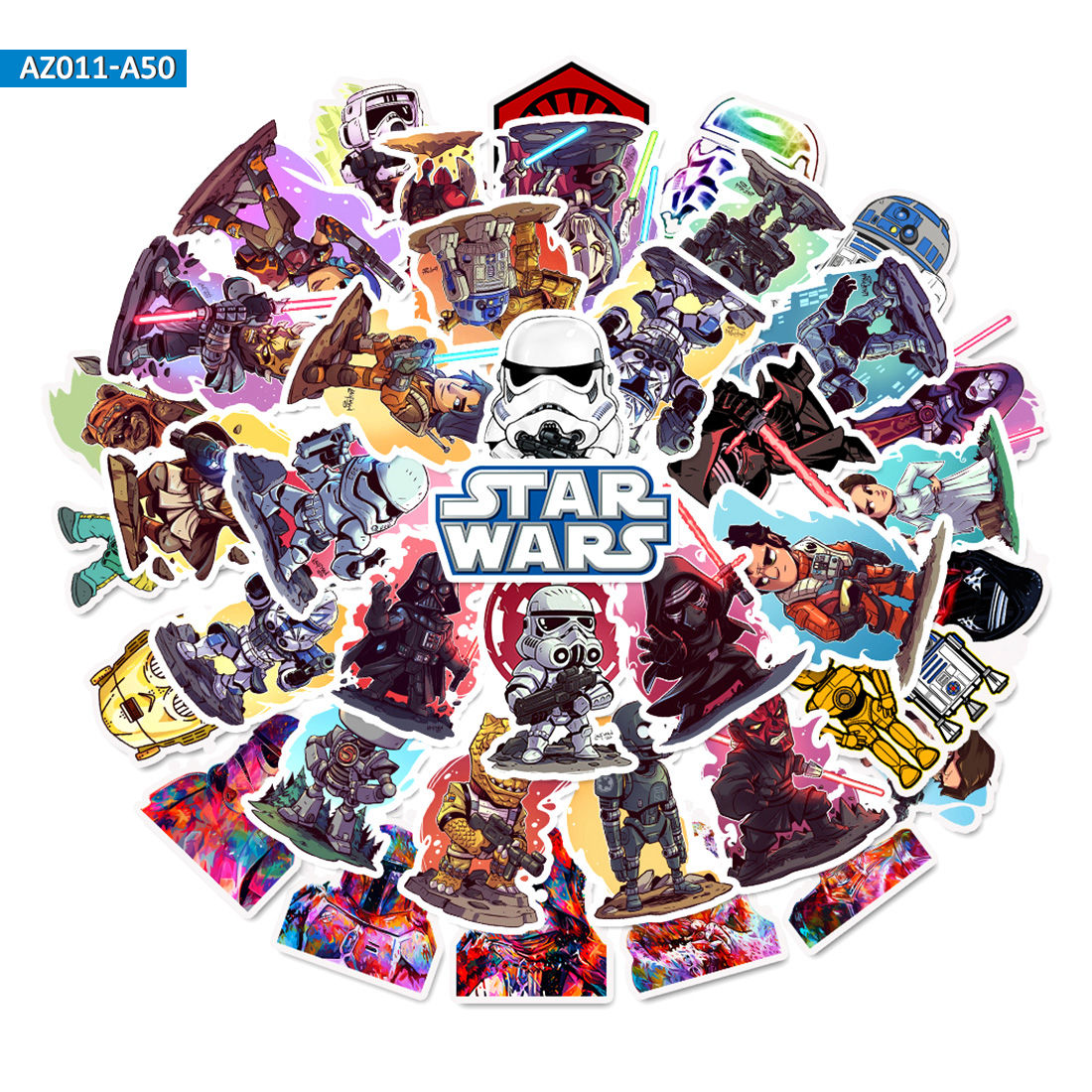50pcs Star Wars Stickers For Mobile Phone Laptop Luggage Suitcase Guitar Skateboard Bicycle Car PVC Waterproof Decal Stickers