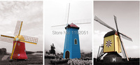 Imagich frameless painting 3 panels canvas painting Dutch windmill Amearican style home decoration art modern decoration