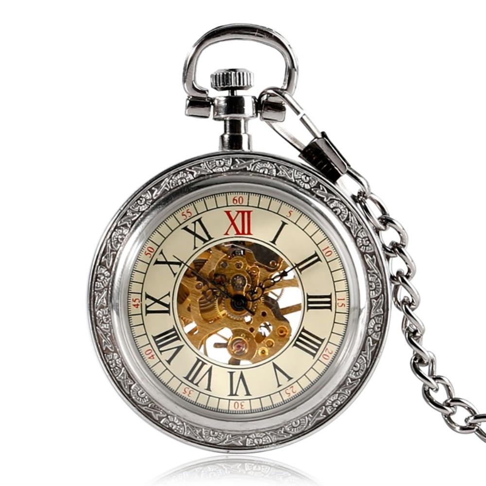 Steampunk Silver Skeleton Mechanical Pocket Watch Chain Open Face Design Hand Wind Women Men Watches Xmas Gifts 2018 New Clock