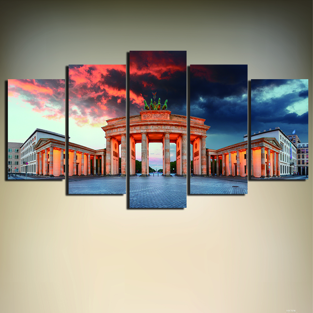 5 pieces germany berlin brandenburg gate poster hd printed painting group oil abstract painting. Black Bedroom Furniture Sets. Home Design Ideas