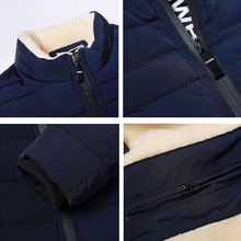 HTLB New 2017 Brand Winter Jacket Men Thick Warm Down Jacket Mens Autumn Outerwear Zippers Fleece Parka Mens Solid Coat