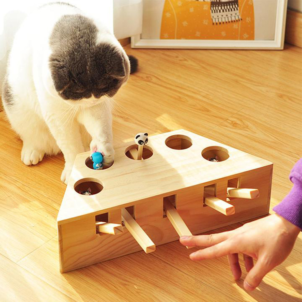 Cat Toys Pet Indoor Solid Wooden Cat Hunting Toy Interactive 3/5-holed Mouse Seat Scratch Interactive Cats Play Toy Best Gift Картофель фри