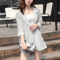 NEW OL Style Striped Blazer Two Piece Set Women's Notched Collar Jacket and Elastic Shorts Sets Lady Summer Workwear