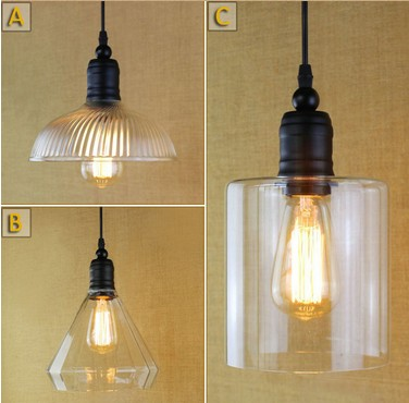 Simple Loft Iron Glass Droplight Industrial Vintage Lighting Pendant Lights For Dining Room Bar Hanging Lamp Lamparas Colgantes vintage iron pendant light loft industrial lighting glass guard design cage pendant lamp hanging lights e27 bar cafe restaurant