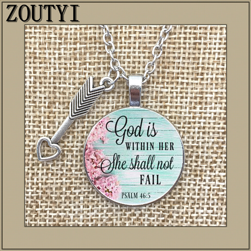 2018/ new God in her necklace, glamour alloy glass pendant necklace, faithful charm necklace, God in her heart she will not fail