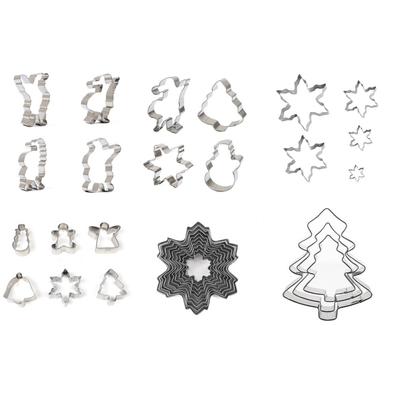 DIY Stainless Steel Christmas Cookie Tools Cutter Molds Moulds Cooking Candy Biscuit Theme Snowflake Snow Kitchen Dining Bar