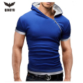 New T Shirts 2016  Fashion Oblique Zipper Tops Tees Hooded Short Sleeve T Shirt Mens Clothing Casual Tee Shirts Hombre T-Shirts