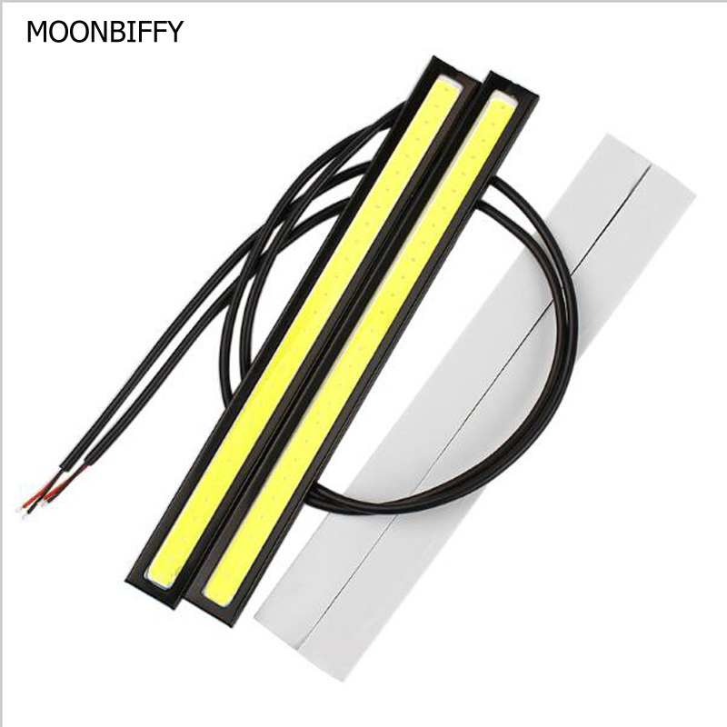 MOONBIFFY 1Pcs Car styling Ultra Bright 12W LED Daytime Running lights DC 12V 17cm Waterproof Auto Car DRL COB Driving Fog lamp 1pair ultra thin 17cm cob led car daytime running lights led drl waterproof daytime lights car styling parking free shipping