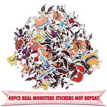 42pcs Aaahh Real Monsters funny cartoon DIY scrapbooking album Luggage Laptop Motorcycle notebook decal Waterproof Sticker E0053