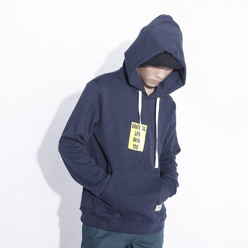 Fashion Royal blue English printing Men Hoodies Solid Sling Male Sweatshirt 2017 winter casualTracksuit M-3XL