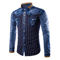 HCXY The new fashion long-sleeved plaid shirt men hit color washed casual slim fit mens denim shirt designer jeans shirt men