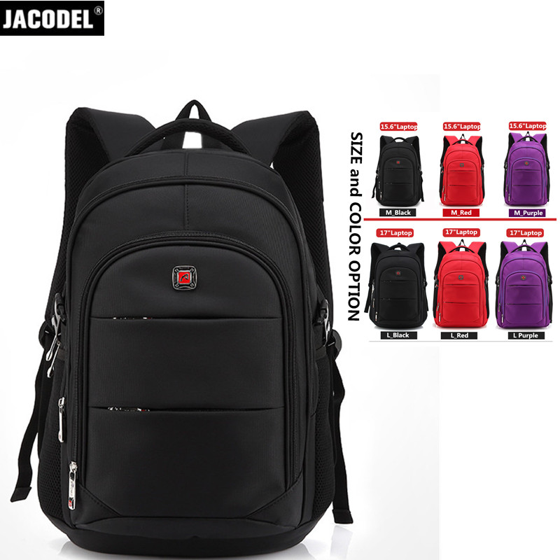 Jacodel Casual 15.6 17 Laptop Bag Travel Bag for HP Levono Dell Xiaomi Notebook Computer Backpack Bag for School Back Bags 2017 jacodel laptop bagpack 15 inch notebook backpack travel case computer pc bag for lenovo asus dell notebook 15 6 inch school bags