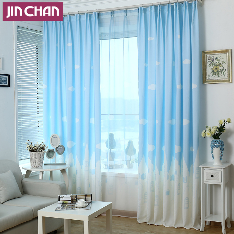 awan dan nuansa pemadaman tirai jendela untuk ruang tamu rumah kamar tidur dapur grommet
