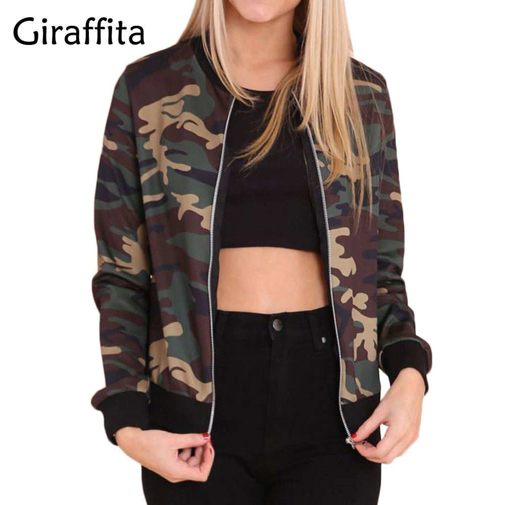 Giraffita 2017 Fashion font b Women b font Loose Camouflage Coat Long Sleeve Zipper Outwear font