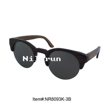 classical round half frame bamboo sunglasses