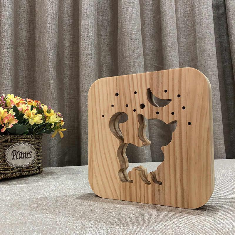 3D мультфильм кошка лампа резная древесина полый светодиодный USB ночник скандинавский милый киска Луна настольные лампы для детской комнаты luminaria