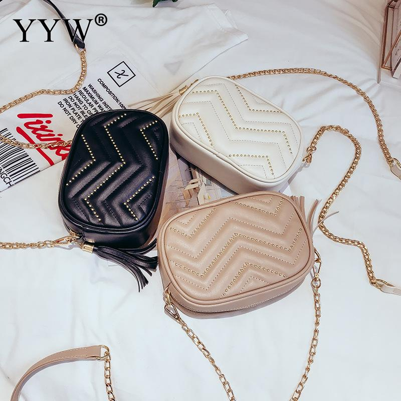 2018 Elegante Della Black Le Bag pink Catena Borsa Trendy gold Ragazza Di Per Borse Casual Pelle Crossbody Messenger Fashion In Donne Mujer Sveglio Spalla white zw6rq1z