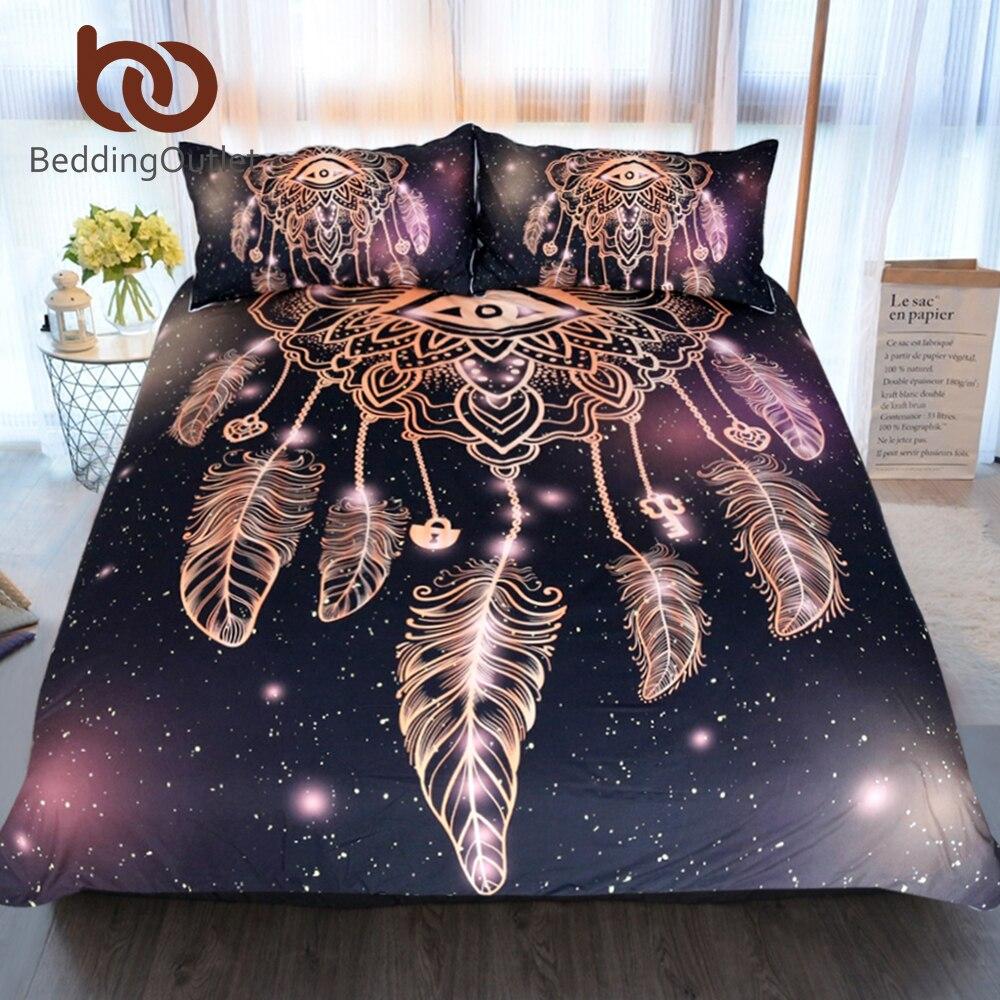 BeddingOutlet Occhio Dreamcatcher Set Biancheria Da Letto King Size di Lusso Galaxy Oro Universo Stampa Bohemian Lenzuola 3d Copripiumino
